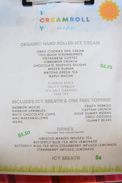 icy-cream-roll-fountain-valley-thai-rolled-ice-dragons-breath-dessert-orange-county-oc-food-fiend-interior-store-ocfoodfiend-blog-menu