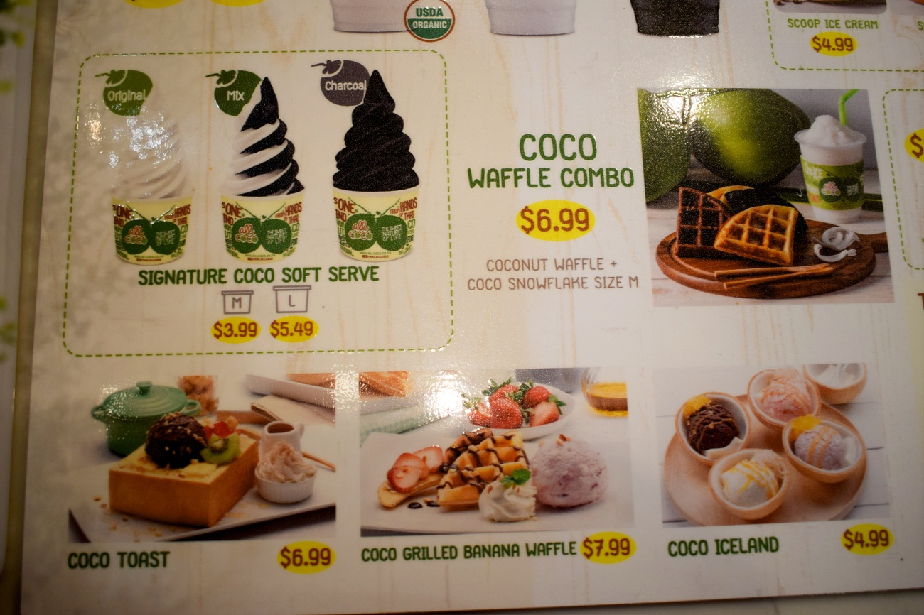 all-coco-thailand-thai-nam-hom-coconut-products-first-US-store-location-ice-cream-OC-Food-Fiend-OCfoodfiend-Orange-County-Tustin-Blogger-Union-Market-Irvine-Dessert-Menu-Waffles