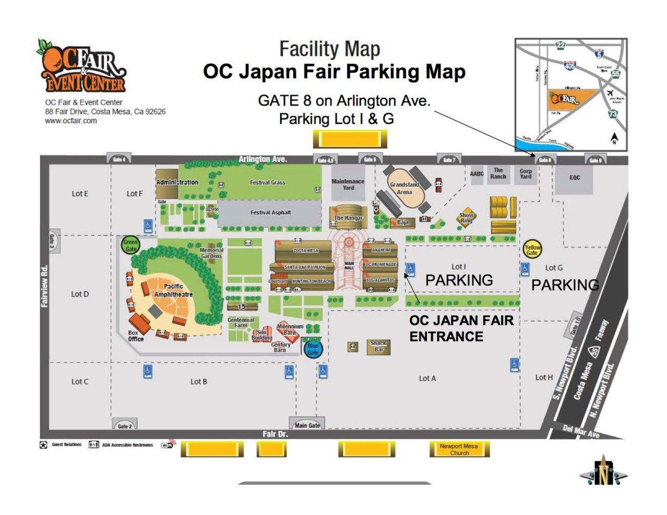 OC Japan Fair Parking Map